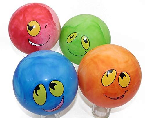 (745) 4 Stück Fußbälle mit Grimassen Gesichter, ca. 20 cm, in 4 Farben, Toller Spielball, Wasserball, Fussball, PVC Ball, Wurfball, Beachball, Fußball