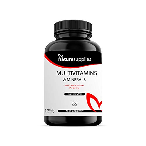 Multivitamins Tablets 365 Pack - 26 Vitimans & Minerals - All Your Vitamins And Minerals In One Tablet - Vitamin A, C, D, E, B1, B2, B3, B6, B12, Folic Acid, Magnesium, Iron, Zinc & Iodine, - Naturesupplies