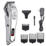 Limural Hair Clippers for Men + Cordless Close Cutting T-Blade Trimmer Kit, Beard Trimmer Barbers Professional Hair Cutting Kit (Silver)