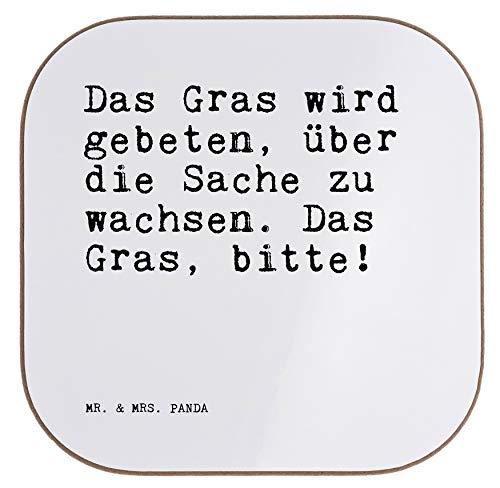 Mr. & Mrs. Panda Quadratische Untersetzer mit Spruch Das Gras Wird gebeten, über die Sache zu wachsen. Das Gras, Bitte!