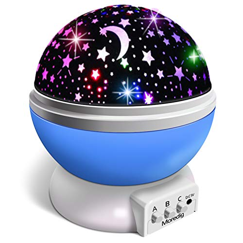 Veilleuse Enfant, Lampe Projecteur 360°Rotation Romantique,Veilleuse Bébé Étoiles, Lampes de Chevet Lampes d'ambiance(4 LED 8 Modes d'éclairage 2 Modes de Charge)-Bleu