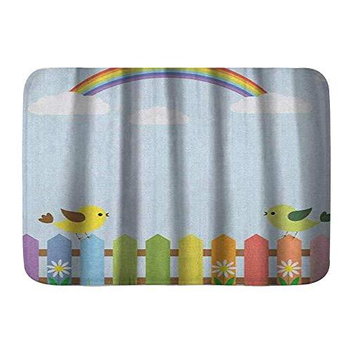 Fußmatten, Vögel auf einem bunten Zaun auf karierten Quadraten, Küchenboden Badteppichmatte Absorbent Indoor Badezimmer Dekor Fußmatte rutschfest