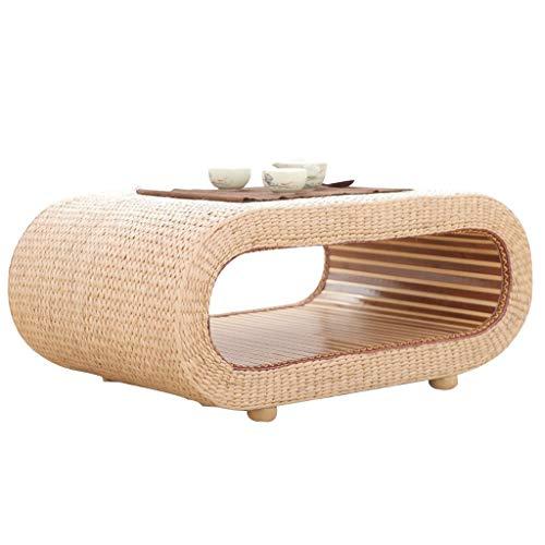 Tables Basse Basse en Paille De Rotin De Baie Vitrée Maison Basse De Lit Basse en Tatami en Bois Massif Basses (Color : Beige, Size : 60 * 45 * 35cm)