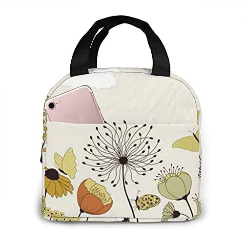 N\A Lunch Bag Hen Flying Butterflies zwischen Blumen Isolierte Lunch Tote Wiederverwendbare Kühltasche Lunch Box
