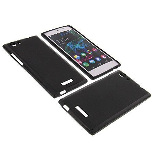 Tasche für Wiko Ridge Fab 4G Gummi TPU Schutz Hülle Handytasche schwarz