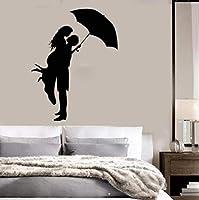 ウォールステッカーキスカップル傘73X114Cmビニールアートステッカーキッズルームアートリビングルーム寝室の装飾