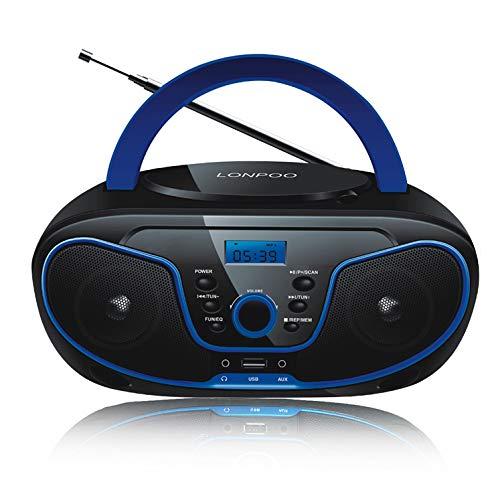 LONPOO Tragbarer CD-Player für Kinder Bluetooth Boombox mit FM-Radio, USB-Eingang, Aux-In, Kopfhörern, 2 x 2 Watt RMS-Stereoanlage