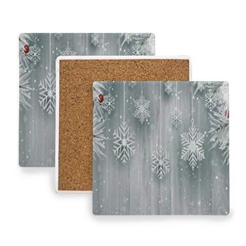 PANILUR Hängende Schneeflocken Mit Silbernem Weihnachtsbaum,Untersetzer Saugfähige Keramik,für Tassen Tisch Bar Glas(4 Packs)