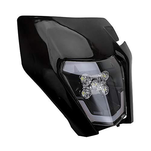 JFG Racing - Faro anteriore carenato universale per moto, per KTM EXC250, SX250, SXF250, EXC450, SX350, SXF450, EXC525, 640LC4, moto da cross Enduro, Supermoto, colore nero