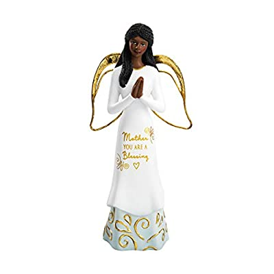 Pavilion Gift Company Mother You are A Blessing - 5.5 Inch African American Praying Collectible Resin Angel Figurine, White