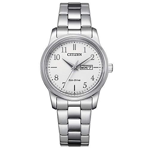 Citizen Eco-Drive EW3260-84A - Reloj para Mujer Acero Clásico Doble Calendario Esfera Blanca
