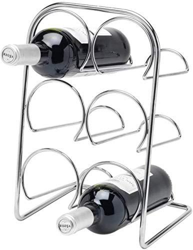 Soporte de metal para 6 botellas – cromo | También puede contener una botella de champán, botellero