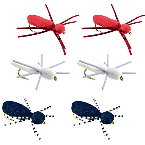 Thor Outdoor Foam Spider - 6 Pc Topwater Fly Fishing Set for Bass,...