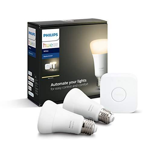 Philips Lighting Hue White Starter Kit con 2 Lampadine Attacco E27, con Bluetooth, Luce Bianca Calda Dimmerabile + 1 Bridge Hue Controllo Completo del Sistema, Bianco