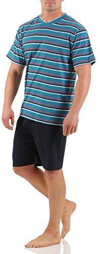 Kurzer Schlafanzug Grösse 50/L Oberteil Rauchblau gestreift V-Ausschnitt - Hose unifarbig