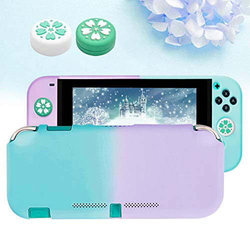Funda para Switch Lite con 2 Tapas Sakura para joystick, Dockable Protectora Carcasa para Switch Lite Consola y Silicona Joy-Con Cover, Separable Duradera TPU Funda para Switch Lite-Azul y Púrpura