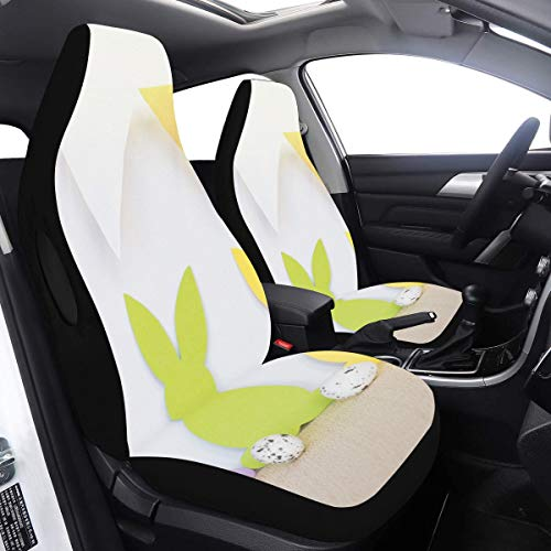 Driver Seat Cover Rabbit with Bunting Flag Cover for Cars 2 Pcs Universal Fit Airbag Compatible for for Car SUV Auto Truck Seat Covers for Cars