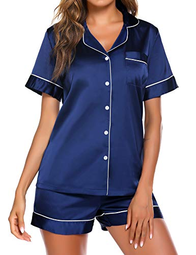 Ekouaer Women's Two Piece Pajamas Plus Size Silk Satin Sleepwear Lightweight Loungewear Pjs Shorts Set (Navy,XXL)