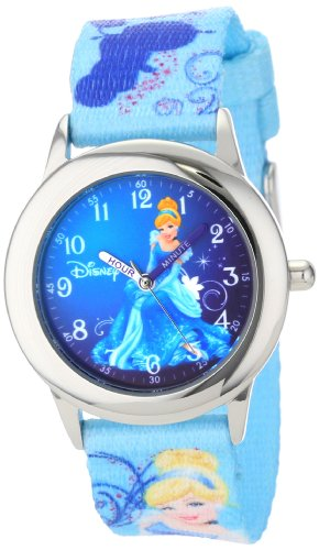 Disney Kids' W000861 Time Teacher Cinderella Stainless Steel Watch with Printed Nylon Band