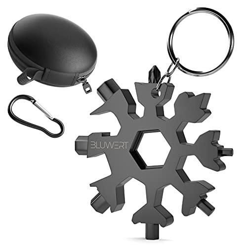 Bluwert Geschenk für Männer - Schneefloken Multitool - 18 in 1 Schlüsselanhänger inkl. Tasche und Karabiner - aus Edelstahl - Outdoor Multifunktionswerkzeug - Geschenke für Fahhräder und Abenteurer