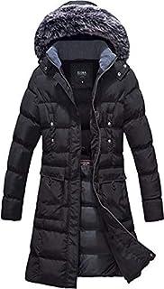 معطف حريمي شتوي من ELORA بتصميم منتفخ متوسط الطول وجيب على شكل جيب من الفرو يمكن إزالته