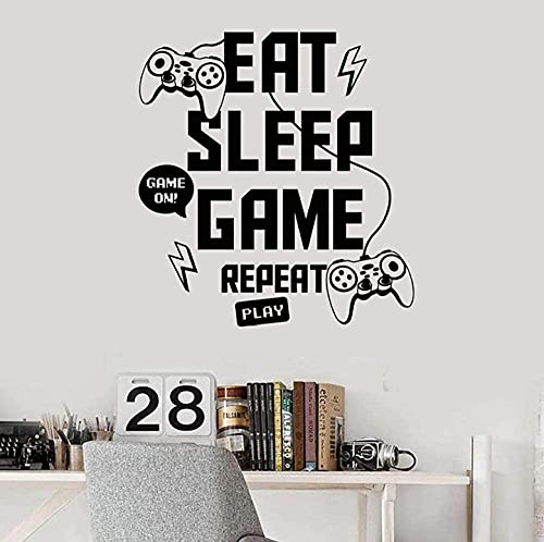 Etiquetas de la pared Come Sleep Game Repett Play Play Joystick Gaming Zone Playroom Interior Ventana Etiqueta Lettering Art Decals 42x45cm