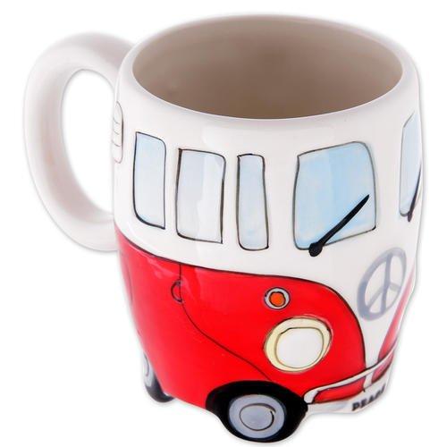 Camper Bus Tasse Wohnmobil Tasse - cremefarben-rot, aus Keramik, handbemalt, Füllmenge: 350 ml.