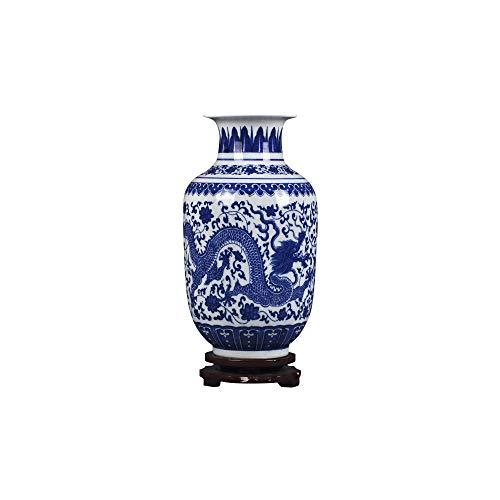 "fanquare Jingdezhen Blue and White Porcelain Flower Vase,Small Handmade Dargon Ceramic Vase,Decorative Vase,11"""