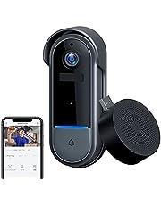 ワイヤレスインターホン インターホン ビデオドアホン 無線WiFi 高解像度 ビデオドアベル ワイヤレスチャイム 双方向音声 防犯カメラ 166°広角レンズ 赤外線暗視機能 動体検知 遠隔監視 IP65防塵防水 電池式 日本語説明書付き 工事不要