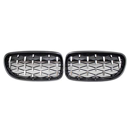 ZHANGJN Nierengrill, Vordere Nierengrill, Fronthaube Diamantgrill Meteor Grill für-BMW 3er E90 E91 2009-2012 Gloss Black & Chrome
