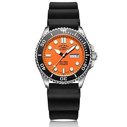 Rotary Super 7 Scuba, orologio automatico da uomo, con quadrante arancione...