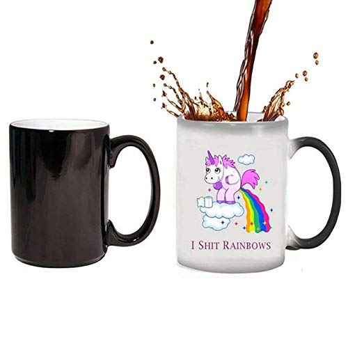Einhorn Hitze Farbwechsel Tassen,Regenbogen Kaffeetasse Keramik Tassen-Becher/Pott für Kaffee,Überraschung Geschenk Männer Frauen (Thermische Verfärbung)