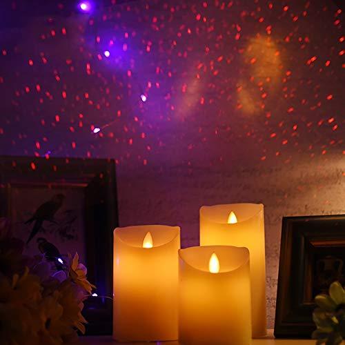 ACEACE Tanzen Flamme LED-Kerze mit Laserlicht, Wachs Stumpenkerze mit Sternenhimmel for Hochzeitsdekoration/Urlaub Partei Licht dekorative (Color : Size 75x100mm)