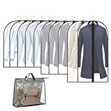 """10+1 Pack Garment Bags Dust Cover for Closet Clothes Storage Black Edge Zipper Hanging Lightweight Clear Full Garment Bag Suit Bags PEVA Moth-Proof Breathable(24'' x 32""""/40""""/48'' )"""