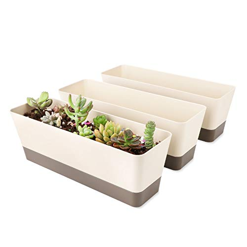 SUREAM Window Box Planter, 3 Pack 12x3.8 Inch Rectangle Herb Planter with Tray, Modern Indoor Small Succulent Cactus Plastic Plant Pot for Windowsill, Garden Balcony, Home Office Outdoor Decoration