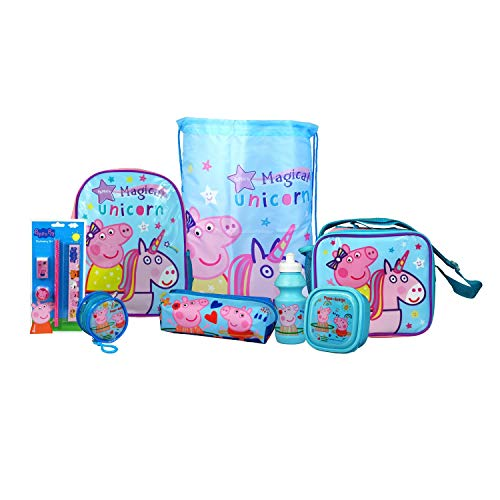 Peppa Pig Magical Unicorn 8PC Back to School Bundle - inc Backpack, Drawstring Sports Bag, Insulated Lunch Bag, Sandwich Box, Water Bottle, Coin Pouch, Pencil Case & Stationery Set.