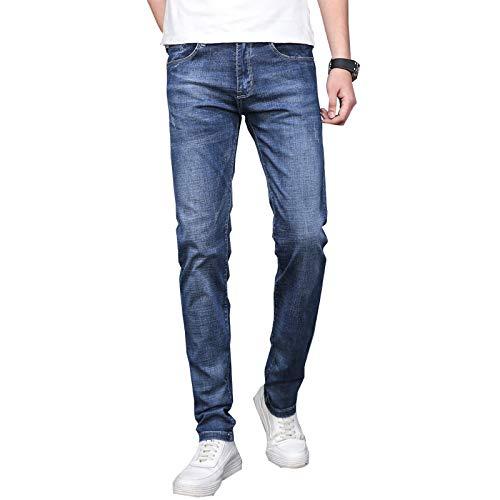 Pantalones Vaqueros de Talle Medio para Hombre Clásico Regular Fit Slim Cómodo Lavado elástico Pantalones...
