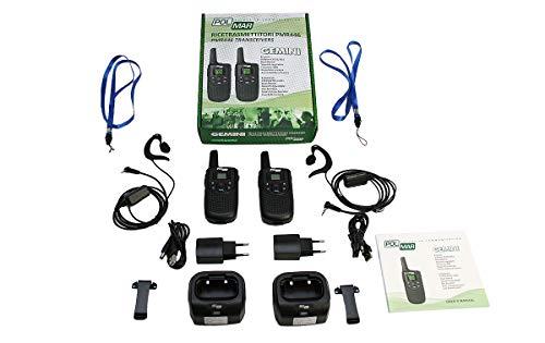 Polmar Gemini - Set di 2 walkie talkie professionali PMR-446, uso libero, 16 canali, compatibili con Kenwood TK3501 e Luthor TL-77