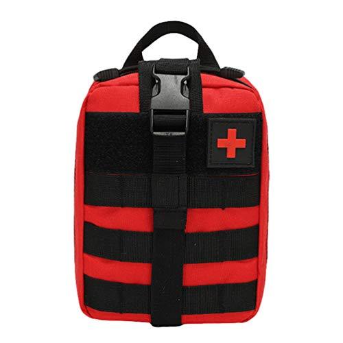 Kaiyei Tactica Bolsa Primeros Auxilios MOLLE Médico Bolsa EMT Kit de Supervivencia Bolsa Bandolera Bolsa con Parche Militar 900D Oxford Impermeable Ciclismo Cámping Rojo
