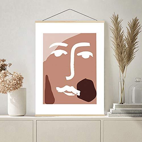 Aibesser Listón de póster magnético, riel para póster de madera, marco para póster para dormitorio, salón y oficina, decoración (beige, 50 cm)