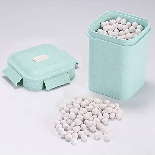 1.6 LB Ceramic Pie Weights For Baking, Pie Crust Weights For Baking Pastry Tart, 10mm Stoneware beads, Reusable Baking Beans With Wheat Straw Container (Green Container)