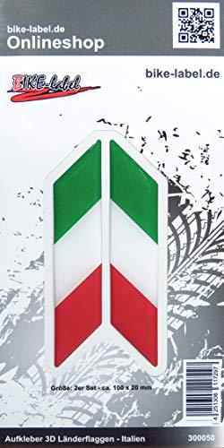 Bike Label 300050 Aufkleber 3D Länder-Flaggen Italien Italy 2 Stck je 100 x 20mm
