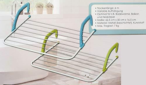 Spetebo Badewannen Wäschetrockner zum hängen - 62,5x50x16 cm - Hängetrockner Balkon Heizung Wäscheständer Badewannentrockner