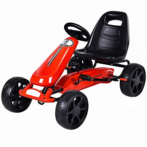 Costzon Go Kart, 4 Wheel Powered Ride On Toy, Kids' Pedal Cars for Outdoor, Racer Pedal Car with Clutch, Brake, EVA Rubber Tires, Adjustable Seat (Red Go Kart)