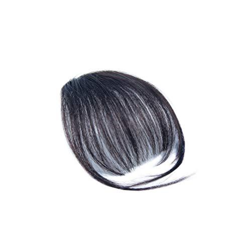 Minkissy Clip im Haar Pony Fransen Haarteile Echthaarverlängerungen für Mädchen Frauen (schwarz)