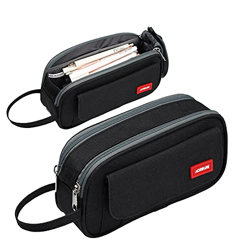 Pencil Case Big Capacity Pencil Bag School Pencil Case Portable Office Stationery Makeup Bag College Supplies School College Office Organizer for Student Teens Girls Adults (Black)