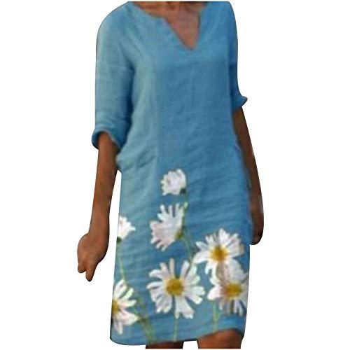 NAQUSHA Vestido maxi de las mujeres de la media manga con cuello en V de la falda ocasional caliente de las vacaciones impresas corto mini cambio de
