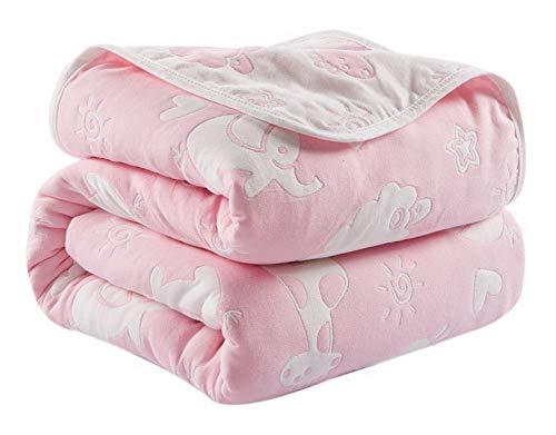 Spicy Meow Couverture en Coton à Six Couches avec Serviette en Gaze, Couverture pour Enfants, Automne, Zoo Rose