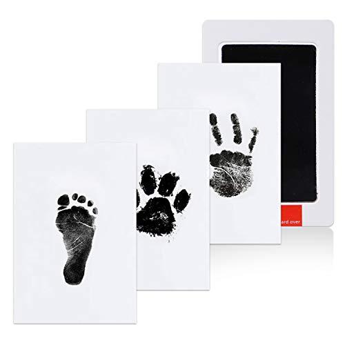 BESTBEBE Clean-Touch Stempelkissen, Hand- und Fußabdruck für Neugeborene, Hunde-/Haustier-Potenabdruck-Tinten-Set, 100% ungiftig, keine Unordnung, Baby-Andenken, Duschgeschenk, schwarz