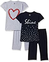 SOUTH SAILOR Girls Cotton Regular fit T-Shirt and 3/4th Capri (Multicolor_2 to 16 Years) Pack of 2